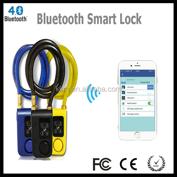 2016 Smart Bluetooth Door/Bicycle/Motorcycle Lock with 110dB Alarm,Technical Lock for Preventing Thieves