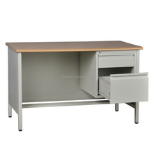 Metal Legs Teacher Desk with Twos Drawers Furniture Teacher Table