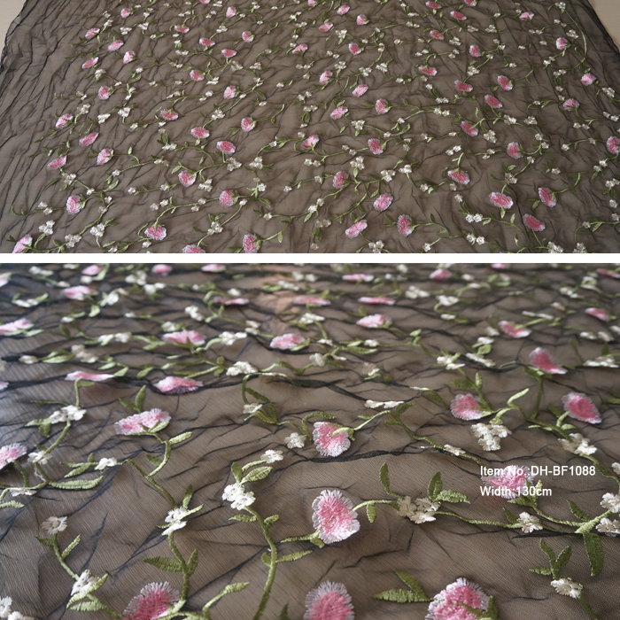 Multi-colors fancy embroidery chemical lace curtain fabric DH-BF1088