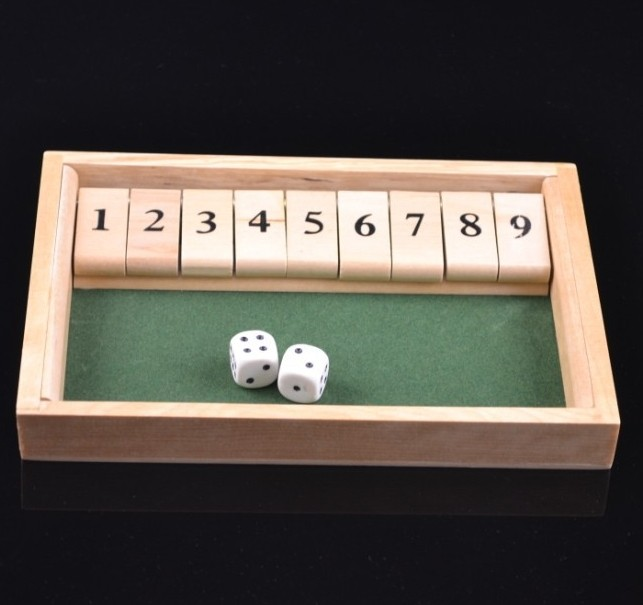 1003,deluxe wooden single 9 shut the box game