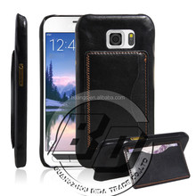 New Arrival Universal flip kickstand leather case with card pocket on back for galaxy s6 luxury leather case lowest price