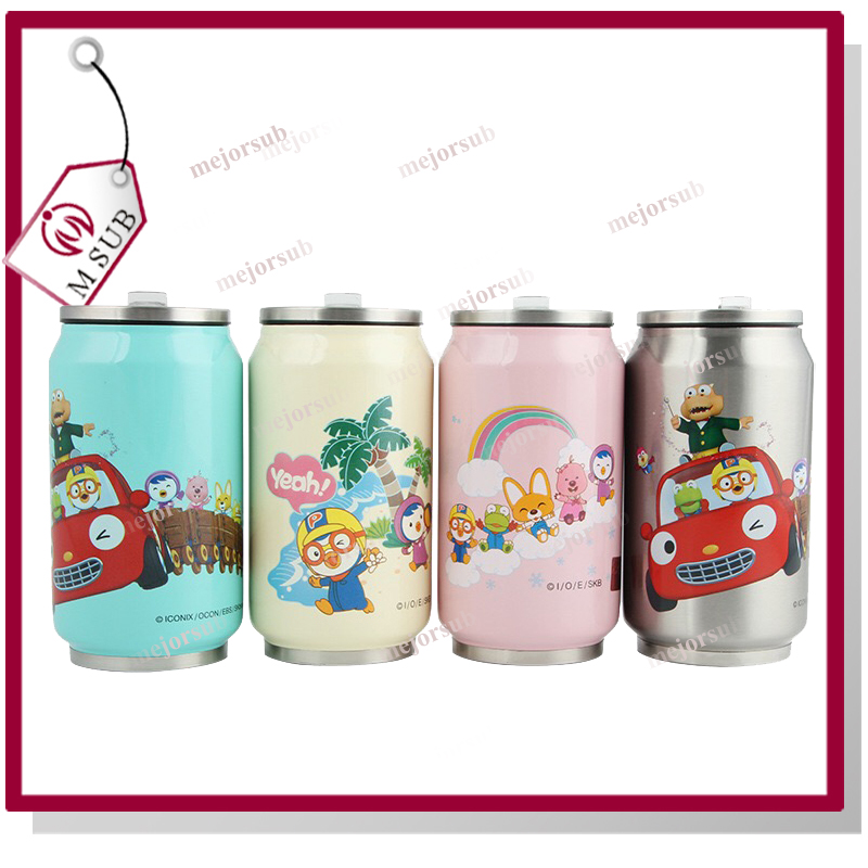 Custom design 350ml 500ml Stainless Steel Can Cup With Lid and Straw Cola Can Shape Vacuum Tumbler