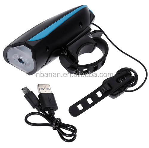 Bicycle Bike Front Light Head LED Flashlight USB Rechargeable Handlebar 3 Mode MTB Cycling Light Headlight With 120db Speaker