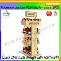 Custom promotional 4 tiers wooden honey display stand