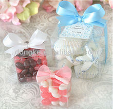 Eco-friendly feature PP PET clear plastic candy packaging box with ribbon