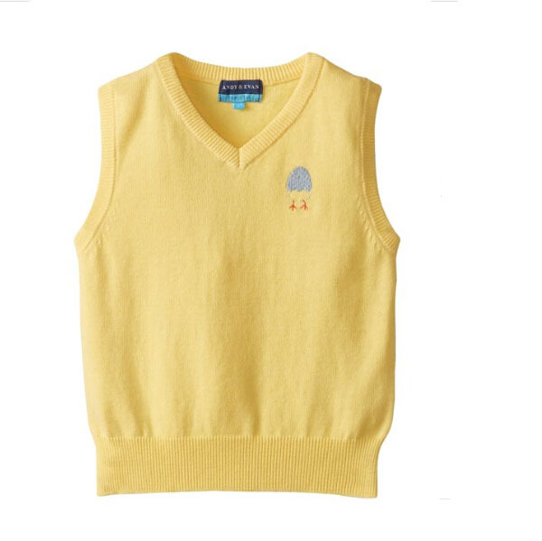 Little Boys Yellow Sleeveless With Egg Pattern Sweater Vest