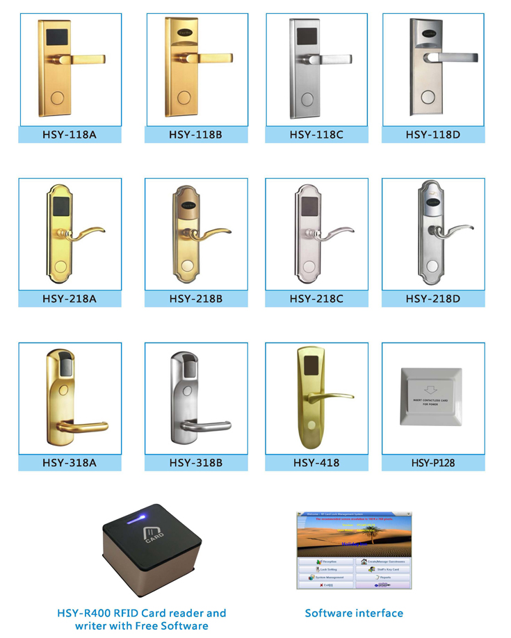 Electronic RFID Keyless ID/IC Card Hotel Door Lock with software