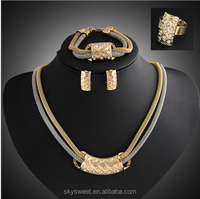Two Layer Gold Necklace ,Alibaba Jewelry Set,Jewelry set in Latest Design(SWTAA1550)