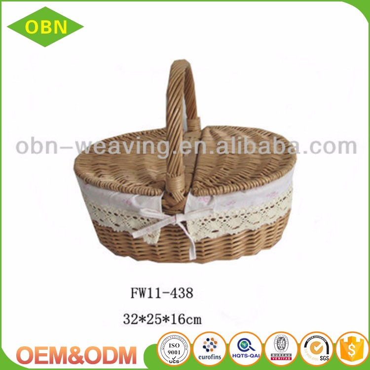 Wholesale cheap fruits food wicker hamper mini empty picnic willow basket with cover