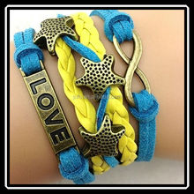 Yellow Strand Gold Star Shape Love Letter Weave Rope Bracelet For Friendship DRJ0022