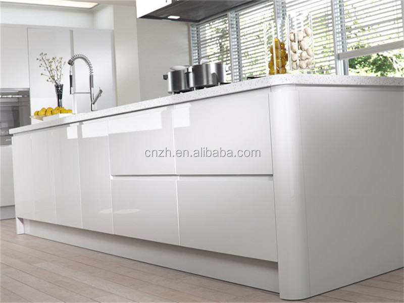 2 Pac High Gloss White Lacquer Kitchen Cabinet For Modern