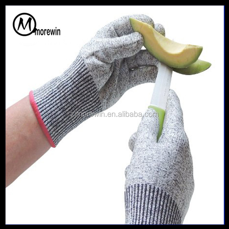 Morewin Brand Amazon supplier Best Food Grade Kitchen Cut Protection Level 5 Cut Resistant Gloves