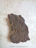 Old Hand Carved beautiful peacock feather pattern Wooden Textile Printing stamp