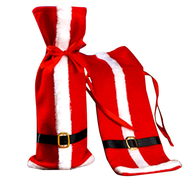 1pcs Christmas Red Wine Santa Claus Clothes With Belts Cover for Bottles Xmas Festival Party Dinner Bottle Covers Gift