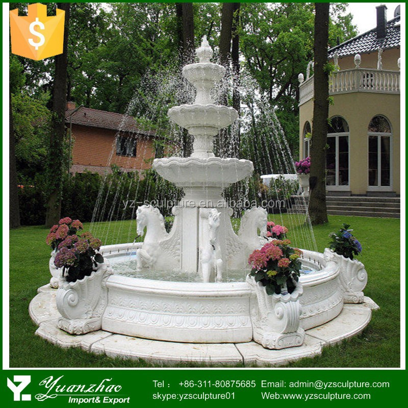 white marble water fountain with horse statue for garden