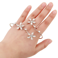 customize luxury accessories Alloy ring crystal cuff flower palm bracelet charm bracelet for women