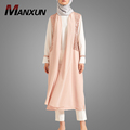 Modes Kimono Abaya Cardigans For Women Muslim Summer Clothing Pink Two-piece Islamic Dresses