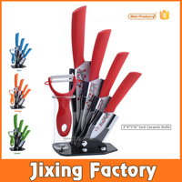 "TJC-071 3""4""5""6"" 5pcs kitchen coating print flower Ceramic Knife Set with holder"