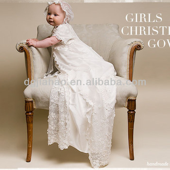 floral embroidered white satin JOLI baby christening gowns