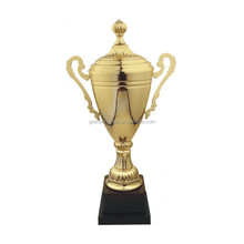 Gold plating sport cup trophies with lid metal award trophy cup