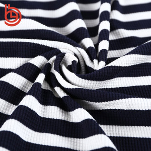 black and white polyester rayon waffle knit stripe fabric for dress