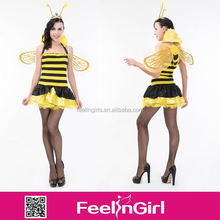 Wholesale Little Yellow Bee 3 Pieces Sex Animal Women Costume Set