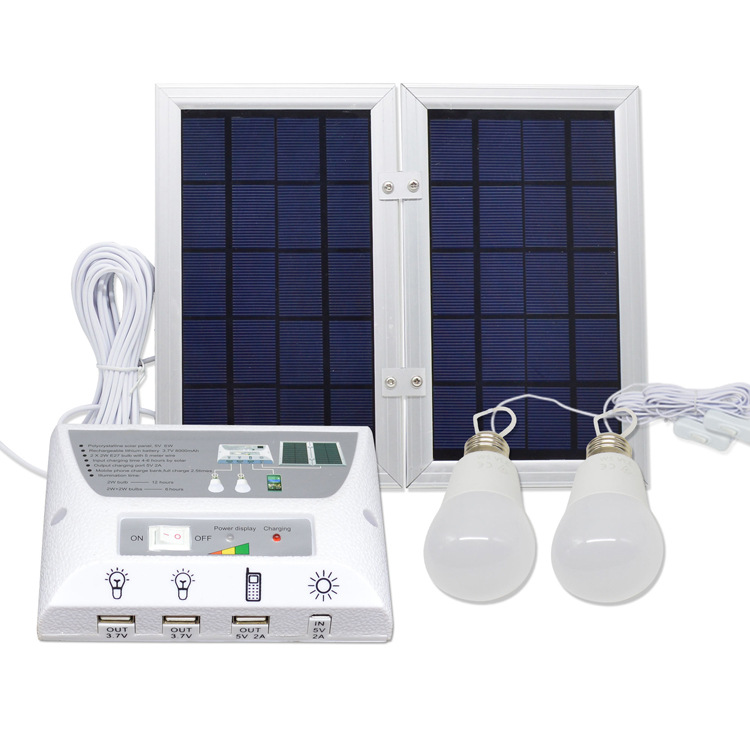 lithium battery 5v 6W Home camping Solar panel Lighting System With USB port for Phone Charger and USB Light bulbs (YH1002A)
