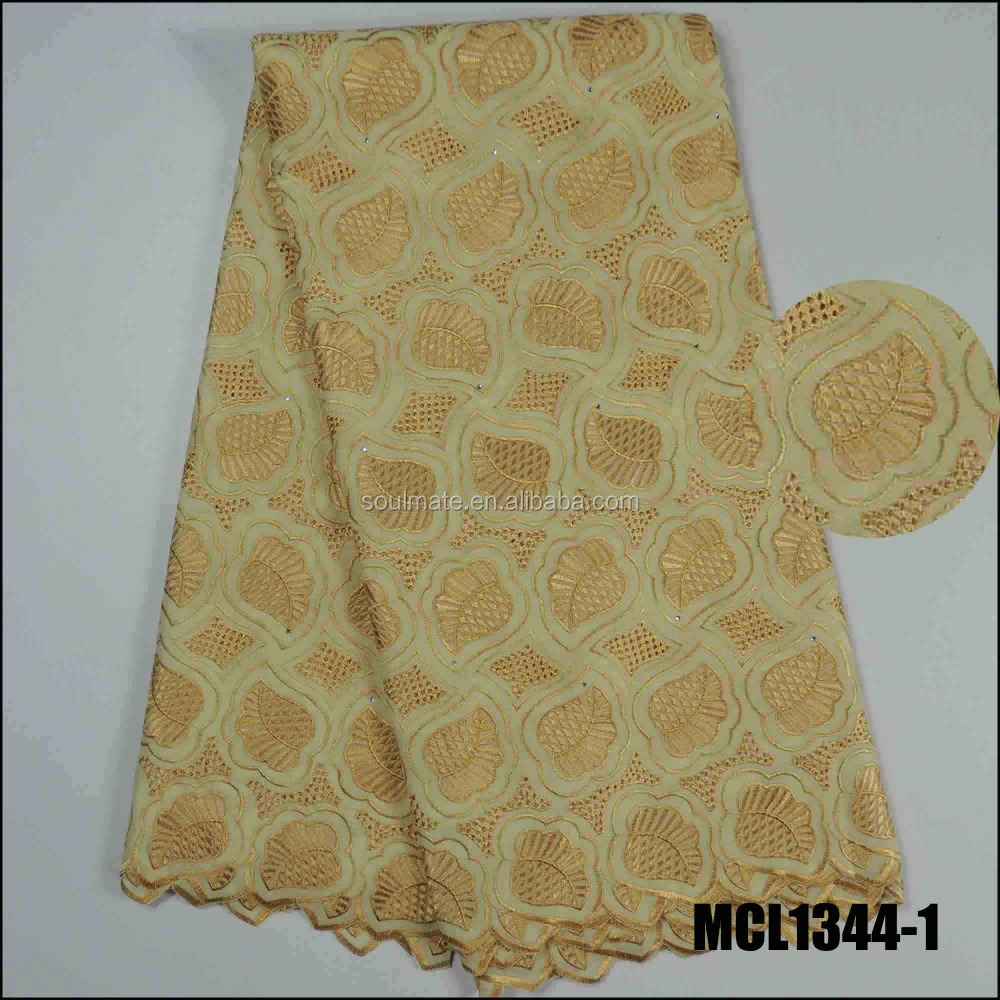 MCL1344-1 Guangzhou top selling embroidery polish lace fabric gold lady africa latest voile laces