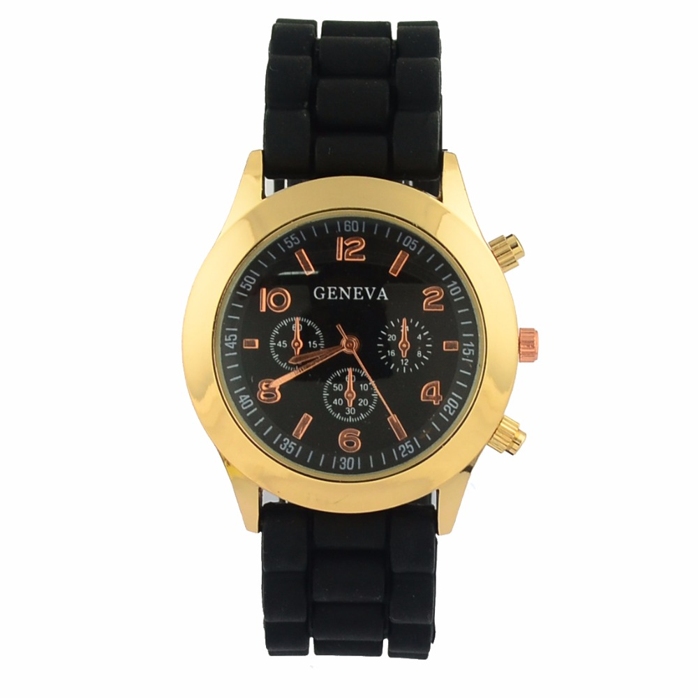 Top Quality New Arrival Gold Alloy Case Geneva Watch %100 New Material Silicone Band Fashionable Dress Watches