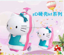 lovely girls 3D hello kitty trolley luggage and school packpack