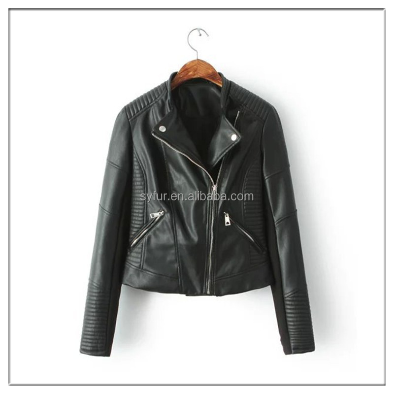 fashion dress winter women PU leather jacket coat and motorbiker leather jackets and imitation leather coat