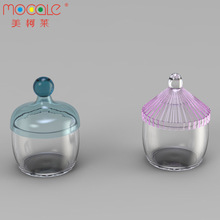 Custom Umbrella Shape Cute Bottle Mini Glass Candy Jar Cookie Jar With Colorful Plastic Cap