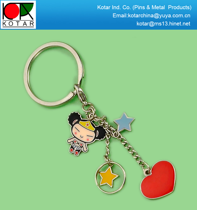 Wholesale fashion promotional metal keychain with charms