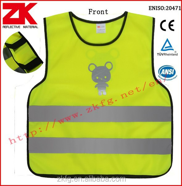 high visibility pullover child reflective vest with elastic on both side