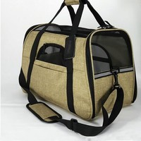 For Amazon and eBay stores Soft jute linen pet carrier dog bag