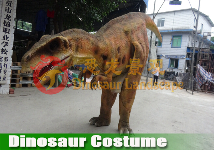 Walking dinosaur king costume inside people operating toy item