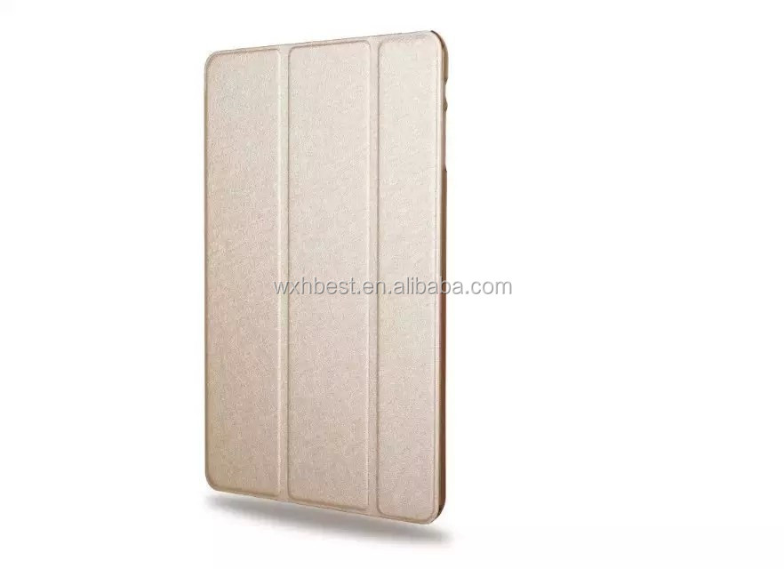 Wholesale alibaba 3 Folding Stand Silk Design PU Leather Case for iPad Mini 1 2 3 With Transparent PC Back Case in Stock