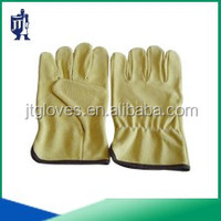 light yellow pig grain leather driving gloves unlined comfortable safty