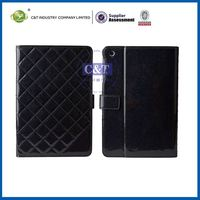C&T Popular black leather foldable for apple ipad mini case with stand