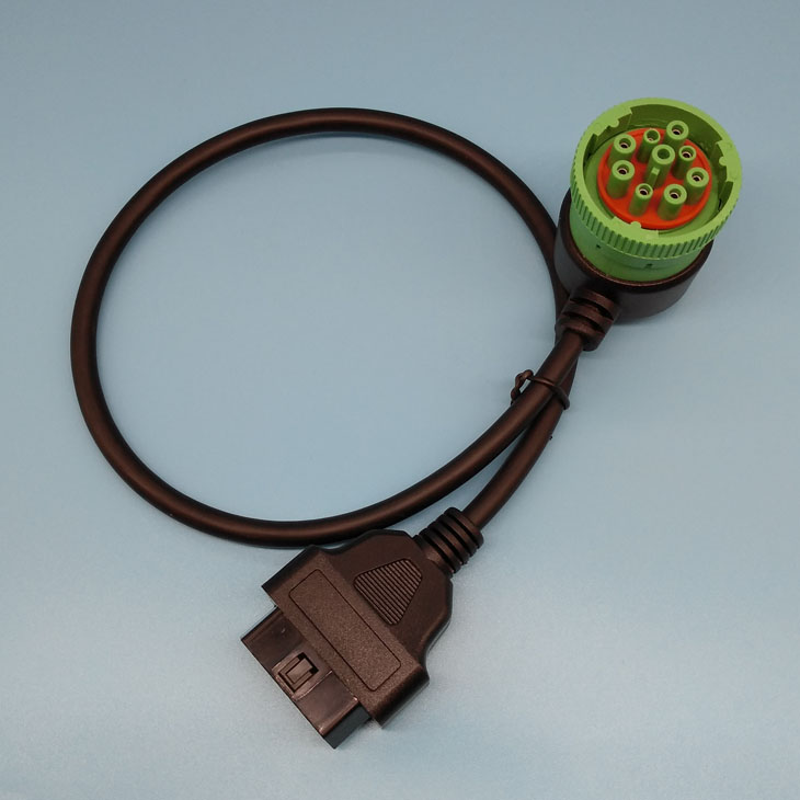 Male J1939 To 16pin Female Round OBD Cable