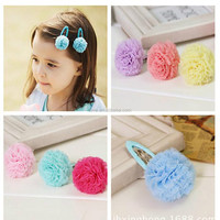 Newest Baby Girls Tulle Flower Hair Clips