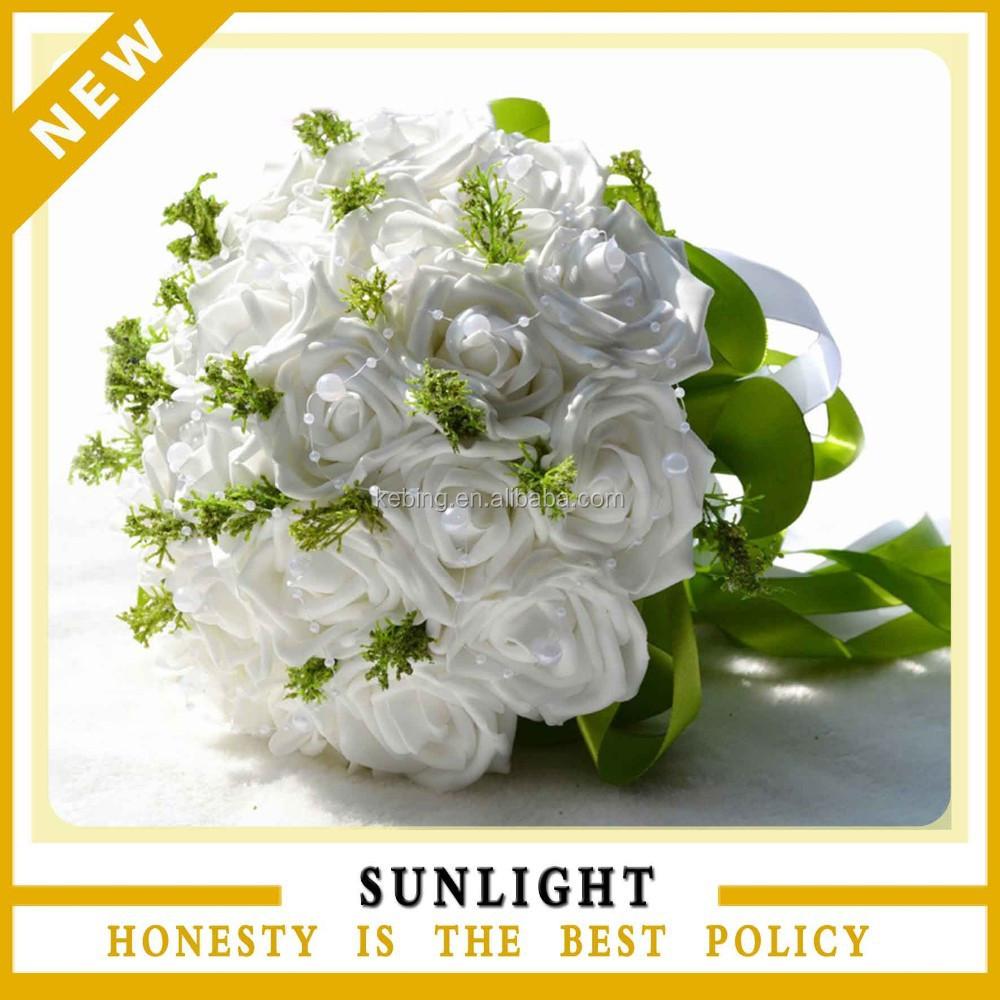Wedding Rhinestone Bouquet Wholesale Blue Silk Flowers Wedding