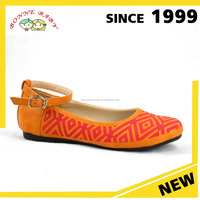 latest orange Leather comfort model fancy red line pattern campus flat shoes for girl 2016 wholesale