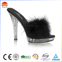 Sexy Lingerie Bedroom Fluffy Feather High Heel Slippers Shoes