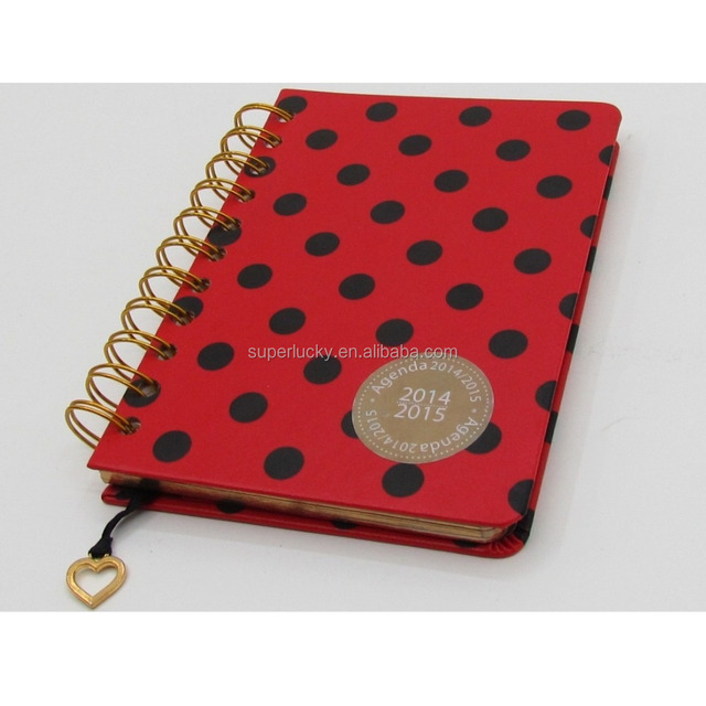 customized hardcover leather wire bound book cover planner daily