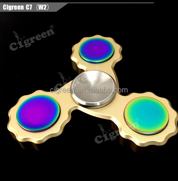 2017 cigreen factory Top sale colorful Tri-Spinner Fidget Toy hand spinner with both botton