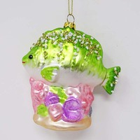 Factory selling coral tropical fish Christmas hand blown glass hanging ornaments