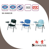 (M1)Cheap plastic steel tube school writing chairs with board,school desk and school chair ,school furniture