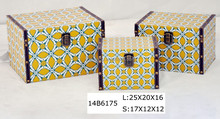 Yellow rustic style wooden box with different patterns