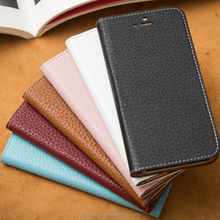 Hot sale Ultra slim back stand cow leather mobile phone flip case for iphone6s 4.7inch